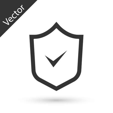 Grey Shield with check mark icon isolated on white background. Security, safety, protection, privacy concept. Tick mark approved. Vector