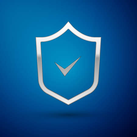 Silver Shield with check mark icon isolated on blue background. Security, safety, protection, privacy concept. Tick mark approved. Vector