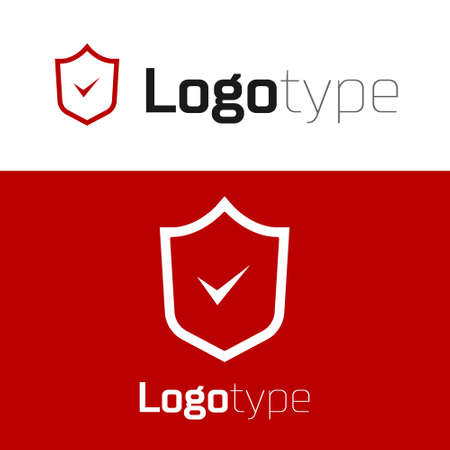 Red Shield with check mark icon isolated on white background. Security, safety, protection, privacy concept. Tick mark approved. Logo design template element. Vector