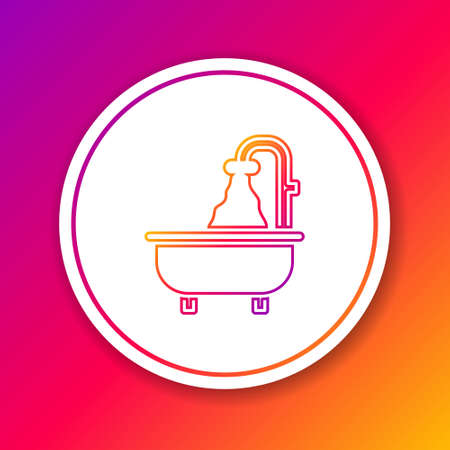 Color line Bathtub icon isolated on color background. Circle white button. Vector