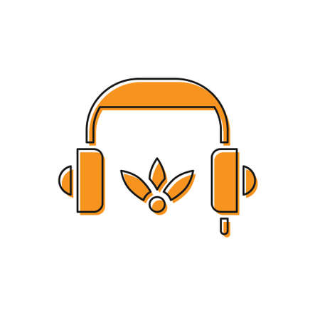 Orange Headphones for meditation icon isolated on white background. Vector Vectores