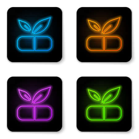 Glowing neon Medical pill with plant icon isolated on white background. Herbal pill. Black square button. Vector Vectores