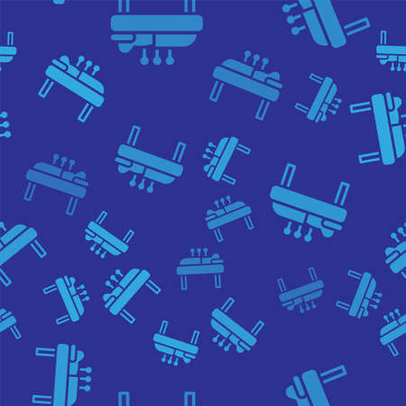 Blue Acupuncture therapy icon isolated seamless pattern on blue background. Chinese medicine. Holistic pain management treatments. Vector
