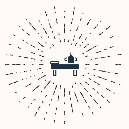 Grey Massage table with oil icon isolated on beige background. Abstract circle random dots. Vector