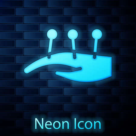 Glowing neon Acupuncture therapy on the hand icon isolated on brick wall background. Chinese medicine. Holistic pain management treatments. Vector Vectores