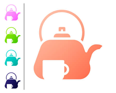 Coral Traditional tea ceremony icon isolated on white background. Teapot with cup. Set color icons. Vector