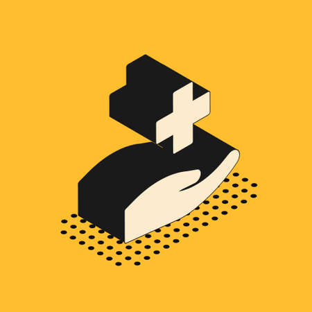 Isometric Cross hospital medical icon isolated on yellow background. First aid. Diagnostics symbol. Medicine and pharmacy sign. Vector