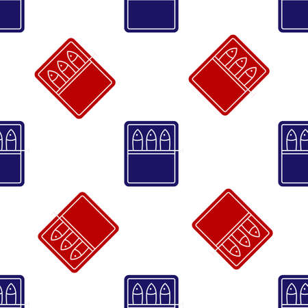 Blue and red Canned fish icon isolated seamless pattern on white background. Vector.