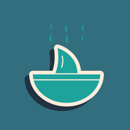 Green Shark fin soup icon isolated on green background. Long shadow style. Vector.