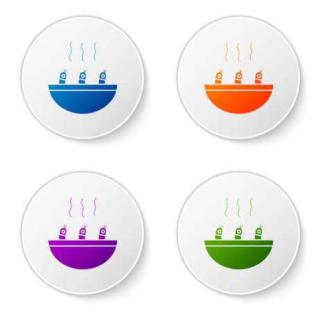 Color Soup with shrimps icon isolated on white background. Tom yum kung soup. Set icons in circle buttons. Vector.