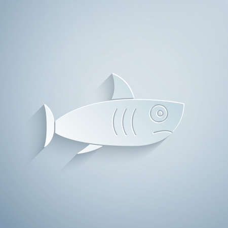 Paper cut Shark icon isolated on grey background. Paper art style. Vector. 向量圖像