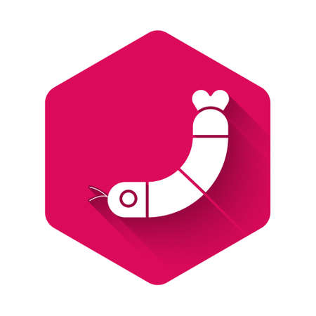 White Shrimp icon isolated with long shadow. Pink hexagon button. Vector.