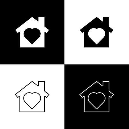 Set House with heart inside icon isolated on black and white background. Love home symbol. Family, real estate and realty. Vector.