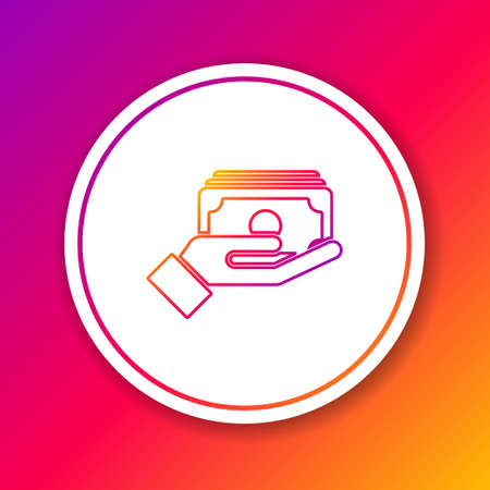 Color line Stacks paper money cash in hand icon isolated on color background. Insurance concept. Money banknotes stacks. Bill currency. Circle white button. Vector.