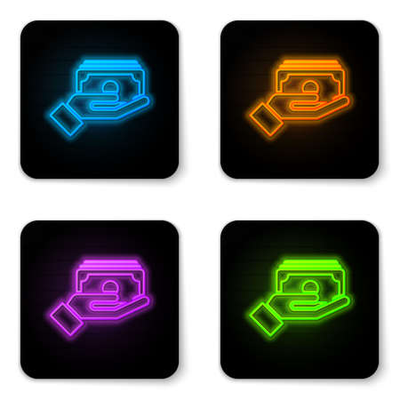 Glowing neon Stacks paper money cash in hand icon isolated on white background. Insurance concept. Money banknotes stacks. Bill currency. Black square button. Vector.