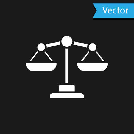 White Scales of justice icon isolated on black background. Court of law symbol. Balance scale sign. Vector.