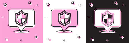 Set Location shield icon isolated on pink and white, black background. Insurance concept. Guard sign. Security, safety, protection, privacy concept. Vector. Ilustração
