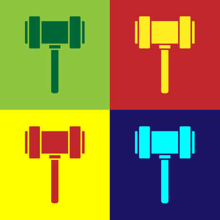 Pop art Judge gavel icon isolated on color background. Gavel for adjudication of sentences and bills, court, justice. Auction hammer. Vector.