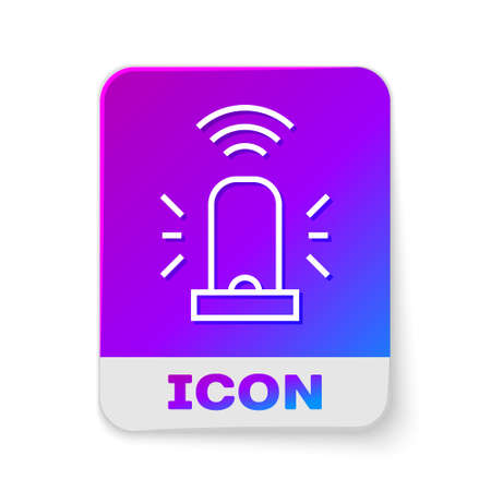 White line Smart flasher siren system icon isolated on white background. Emergency flashing siren. Internet of things concept with wireless connection. Rectangle color button. Vector