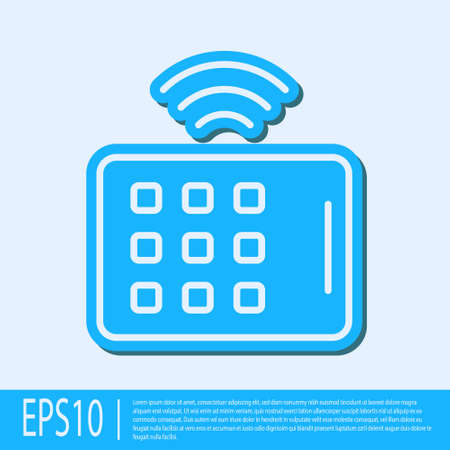 Blue line Wireless tablet icon isolated on grey background. Internet of things concept with wireless connection. Vector