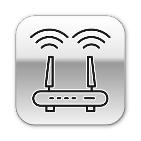 Black line Router and wireless signal icon isolated on white background. Wireless network modem router. Computer technology internet. Silver square button. Vector