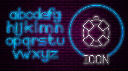 Glowing neon line Lifebuoy icon isolated on brick wall background. Lifebelt symbol. Neon light alphabet. Vector