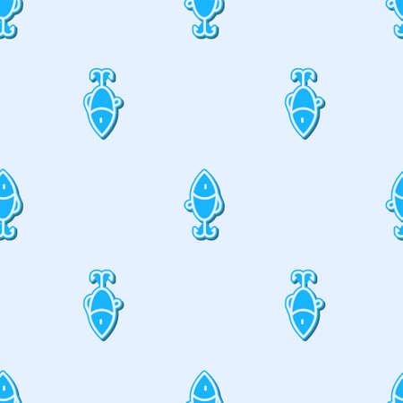 Blue line Fishing lure icon isolated seamless pattern on grey background. Fishing tackle. Vector