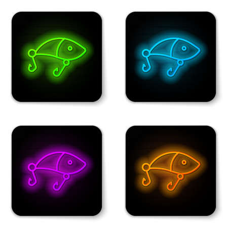 Glowing neon line Fishing lure icon isolated on white background. Fishing tackle. Black square button. Vector Ilustrace