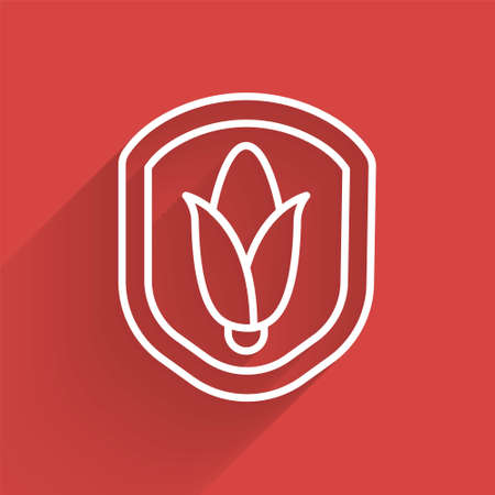 White line Shield corn icon isolated with long shadow. Security, safety, protection, privacy concept. Vector