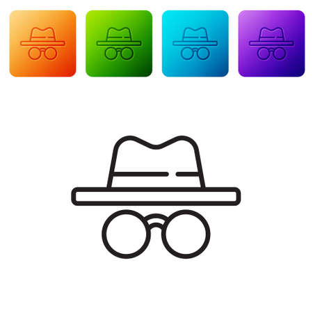 Black line Incognito mode icon isolated on white background. Set icons in color square buttons. Vector 向量圖像