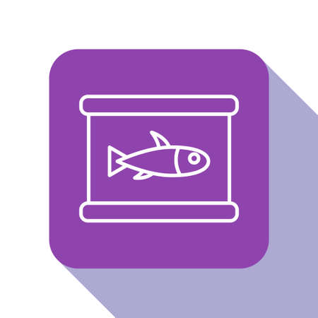 White line Canned fish icon isolated on white background. Purple square button. Vector. Vectores
