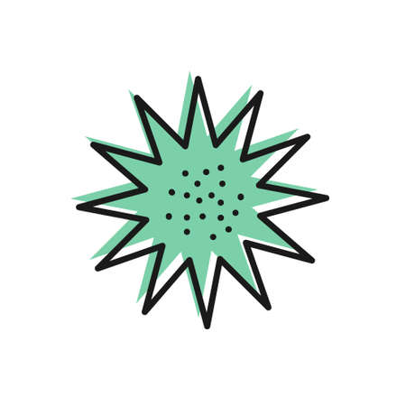 Black line Sea urchin icon isolated on white background. Vector.