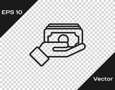 Black line Stacks paper money cash in hand icon isolated on transparent background. Insurance concept. Money banknotes stacks. Bill currency. Vector.