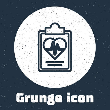 Grunge line Health insurance icon isolated on grey background. Patient protection. Security, safety, protection, protect concept. Monochrome vintage drawing. Vector.