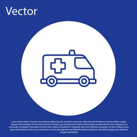 Blue line Ambulance and emergency car icon isolated on blue background. Ambulance vehicle medical evacuation. White circle button. Vector. Ilustracja