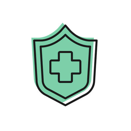 Black line Health insurance icon isolated on white background. Patient protection. Security, safety, protection, protect concept. Vector.