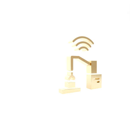 Gold Industrial machine robotic robot arm hand factory icon isolated on white background. Industrial robot manipulator. 3d illustration 3D render Archivio Fotografico
