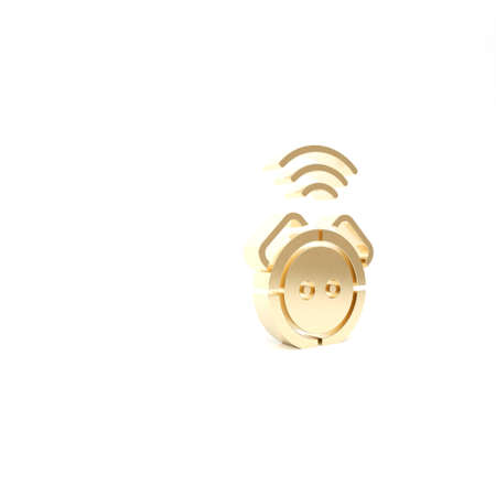 Gold Robot vacuum cleaner icon isolated on white background. Home smart appliance for automatic vacuuming, digital device for house cleaning. 3d illustration 3D render Archivio Fotografico