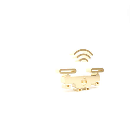Gold Smart drone system icon isolated on white background. Quadrocopter with video and photo camera symbol. 3d illustration 3D render Archivio Fotografico