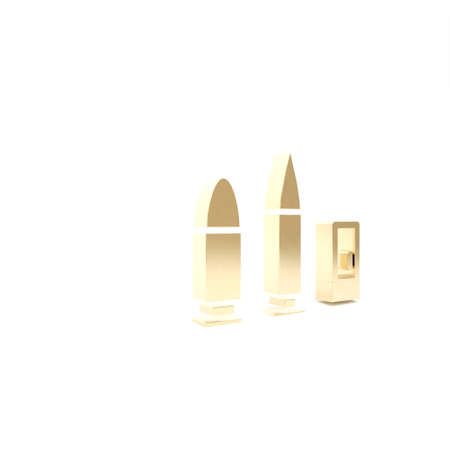 Gold Bullet and cartridge icon isolated on white background. 3d illustration 3D render