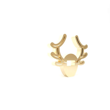 Gold Deer antlers on shield icon isolated on white background. Hunting trophy on wall. 3d illustration 3D render