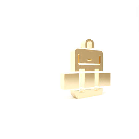 Gold Hiking backpack icon isolated on white background. Camping and mountain exploring backpack. 3d illustration 3D render