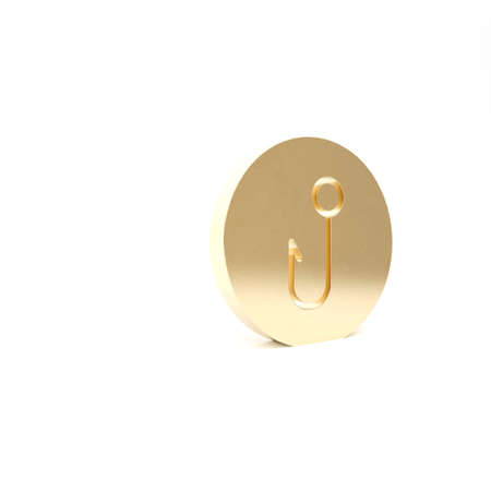 Gold Fishing hook icon isolated on white background. Fishing tackle. 3d illustration 3D render