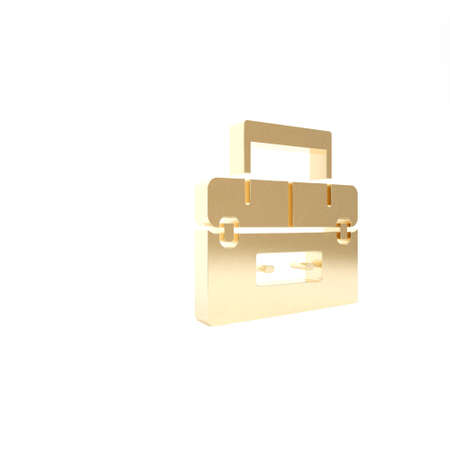 Gold Case or box container for wobbler and gear fishing equipment icon isolated on white background. Fishing tackle. 3d illustration 3D render 스톡 콘텐츠