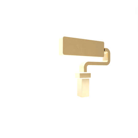 Gold Paint roller brush icon isolated on white background. 3d illustration 3D render 写真素材