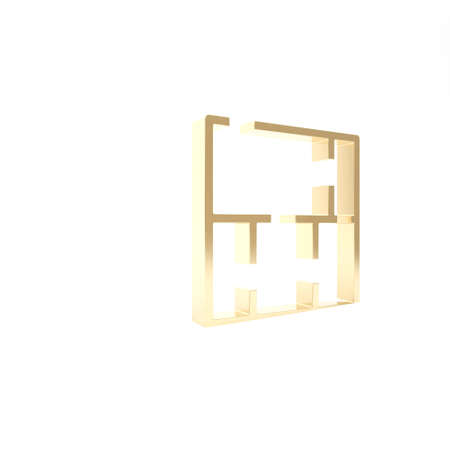 Gold House plan icon isolated on white background. 3d illustration 3D render