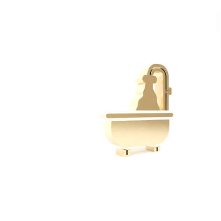 Gold Bathtub icon isolated on white background. 3d illustration 3D render 写真素材