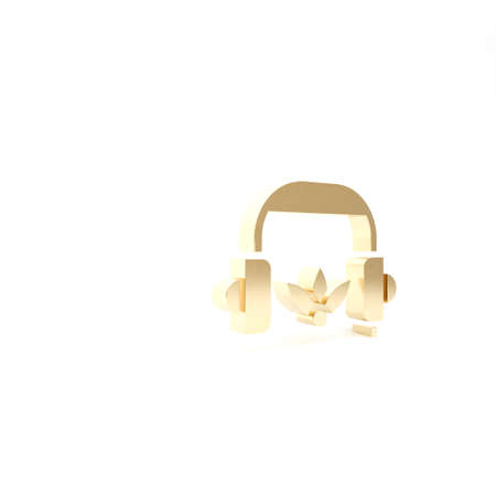 Gold Headphones for meditation icon isolated on white background. 3d illustration 3D render