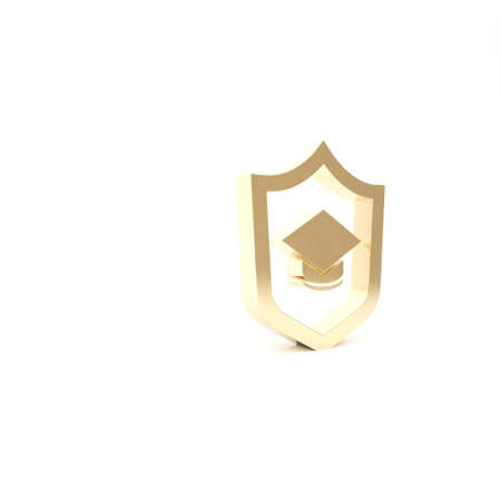 Gold Graduation cap with shield icon isolated on white background. Insurance concept. Security, safety, protection, protect concept. 3d illustration 3D render