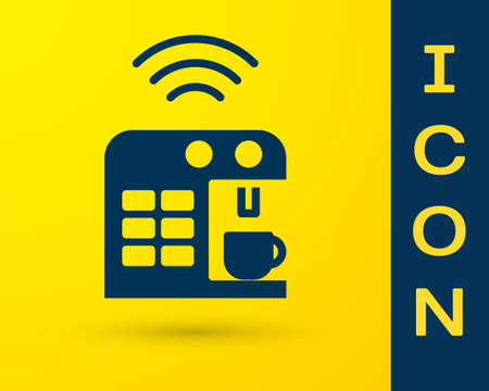 Blue Smart coffee machine system icon isolated on yellow background. Internet of things concept with wireless connection. Vector